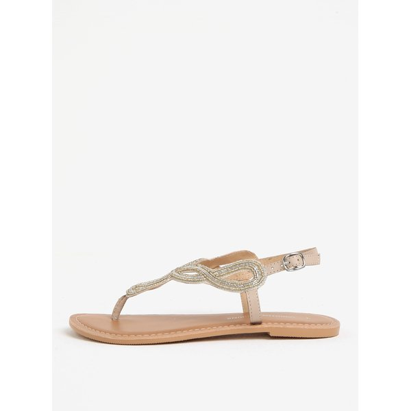 Sandale aurii cu detalii decorative si piele Dorothy Perkins