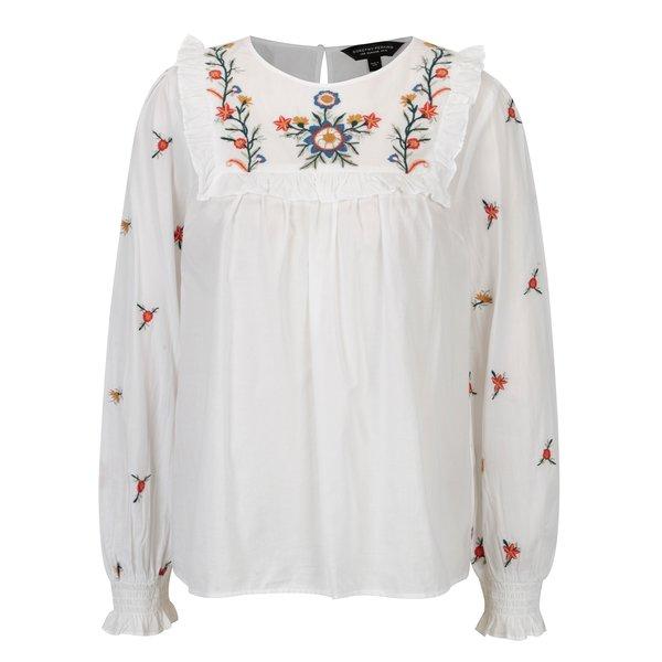 Bluza alba cu broderie florala si volane Dorothy Perkins