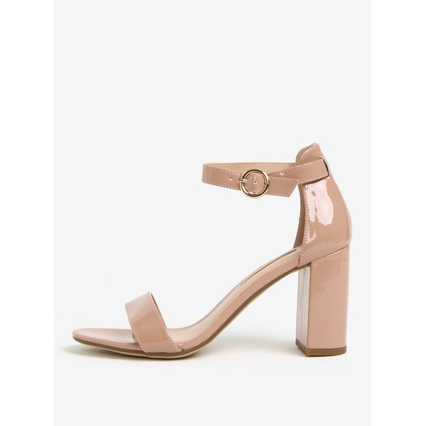 Sandale lacuite roz pal cu toc inalt si stabil - Dorothy Perkins