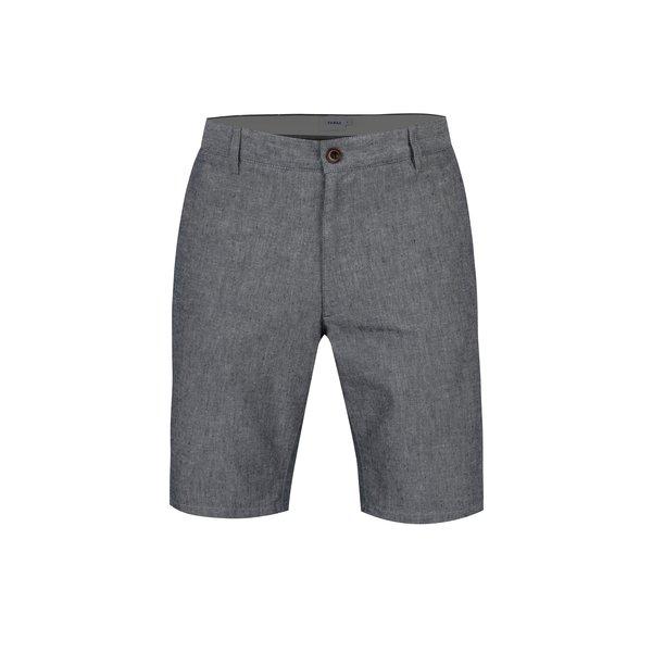 Pantaloni scurti gri albastrui din amestec de in pentru barbati - Farah Hawk