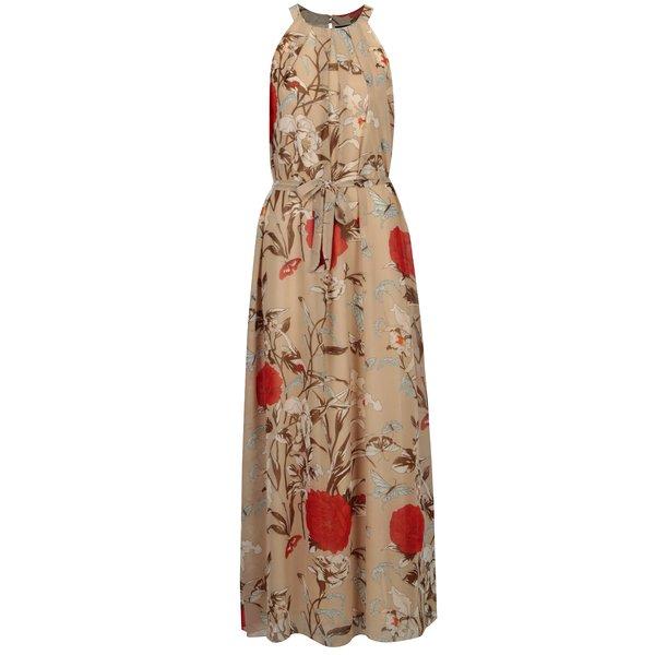 Rochie bej cu print floral si cordon in talie – Mela London