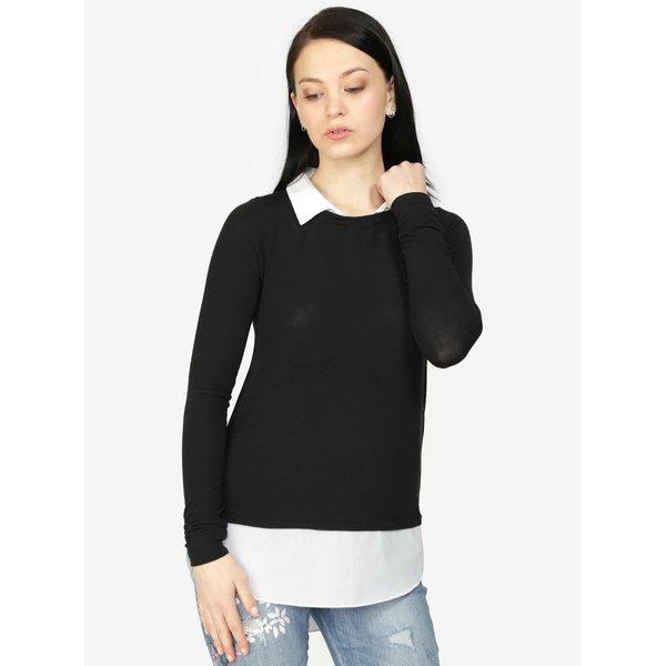 Pulover negru asimetric cu aspect 2 in 1 - Haily´s Linda