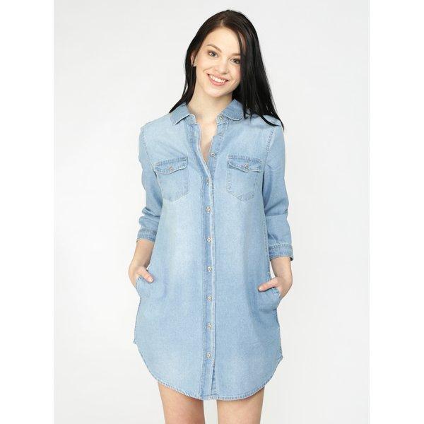 Rochie camasa albastra din denim cu buzunare – Haily's Frieda