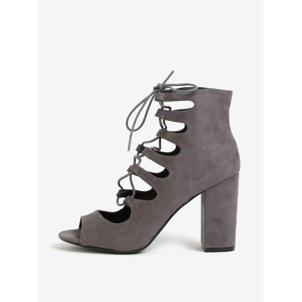 Sandale inalte gri cu sireturi - MISSGUIDED