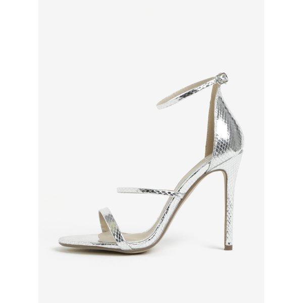 Sandale argintii glossy cu toc inalt - MISSGUIDED