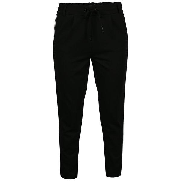 Pantaloni negri cu dungi laterale - ONLY Poptrash