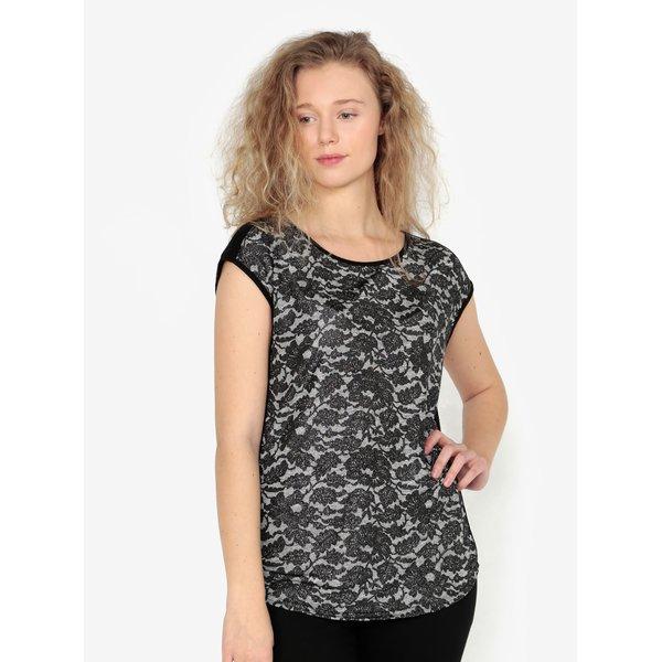 Top negru cu model floral metalic Oasis Nottingham