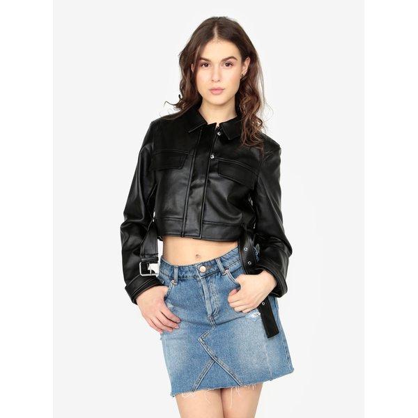 Jacheta crop neagra din piele sintetica cu tinte – MISSGUIDED Barbie