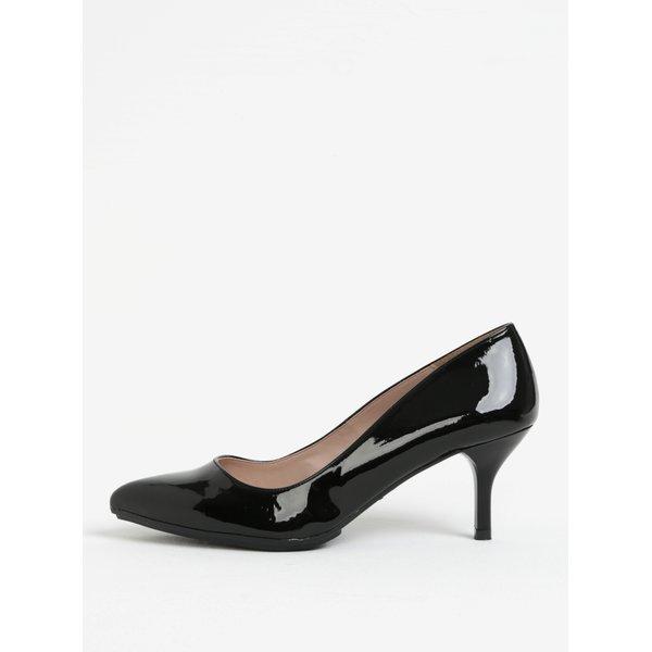 Pantofi negri de lac cu varf ascutit si toc inalt – OJJU