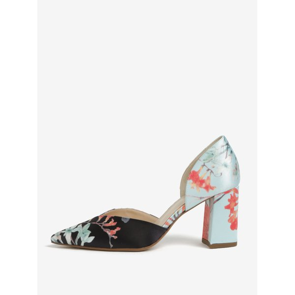 Pantofi cu print floral toc masiv si decupaje negru & bleu - Högl