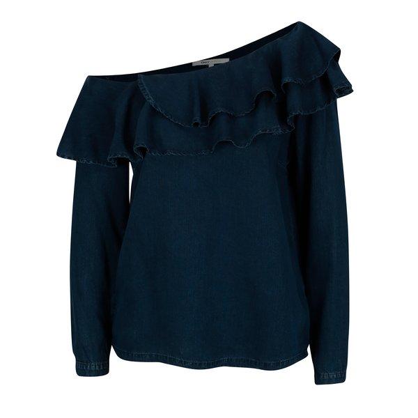 Bluza asimetrica bleumarin cu volane si decolteu pe un umar – ONLY Dreamy