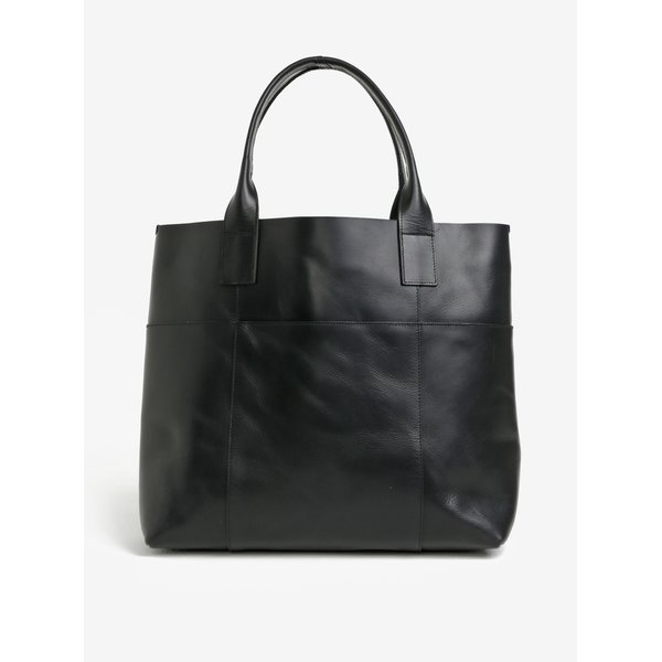 Geanta shopper neagra din piele naturala - Pieces Irene