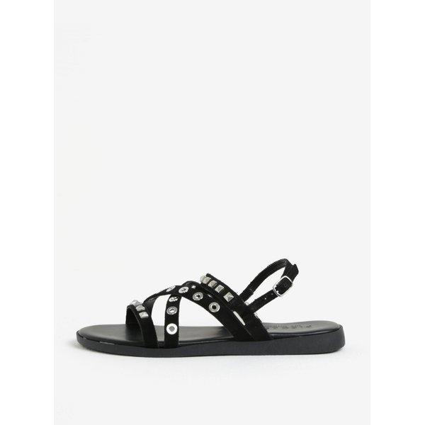 Sandale negre cu tinte din piele intoarsa Pieces Nantale