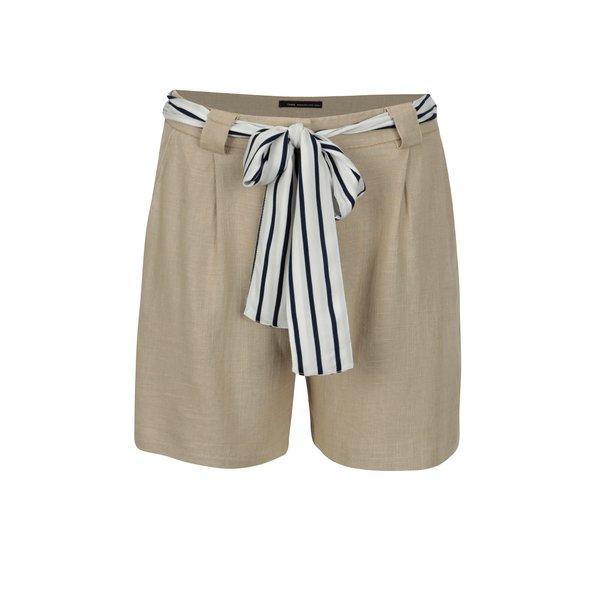 Pantaloni scurti bej din in cu cordon in talie - Yerse