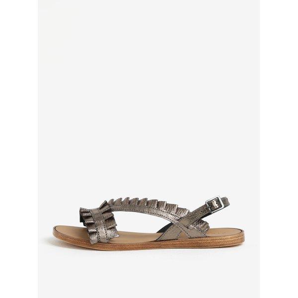 Sandale gri inchis metalizat cu aplicatii din piele Pieces Mindy
