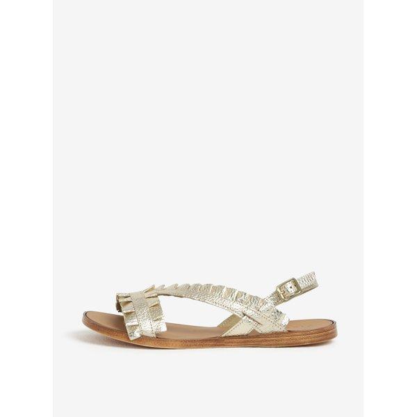 Sandale aurii cu aplicatii din piele Pieces Mindy