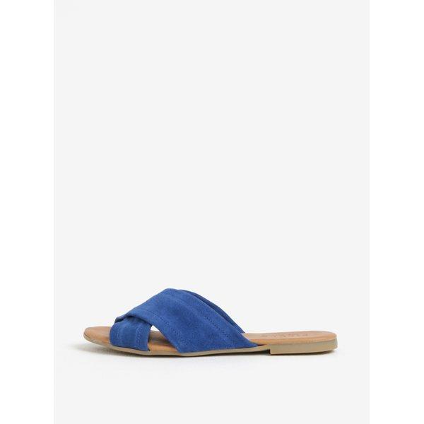 Papuci albastri cu barete suprapuse din piele Pieces Marnie