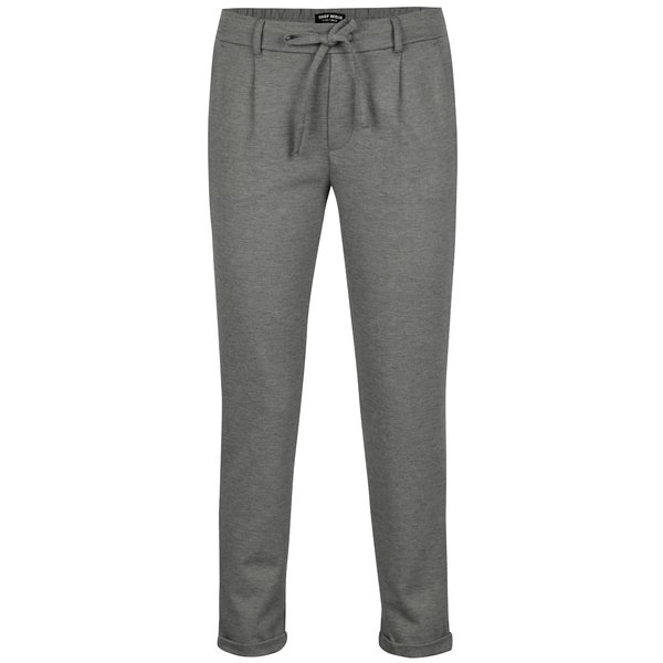 Pantaloni cropped gri melanj cu talie clasica - TALLY WEiJL
