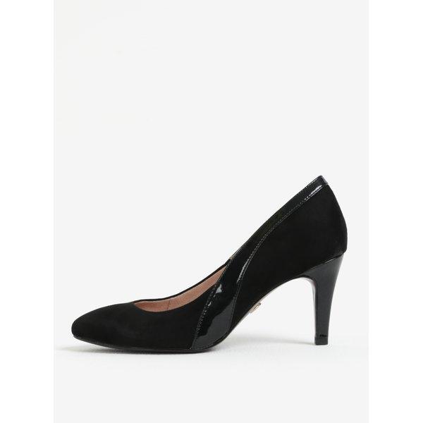 Pantofi cu toc negri din piele intoarsa Tamaris