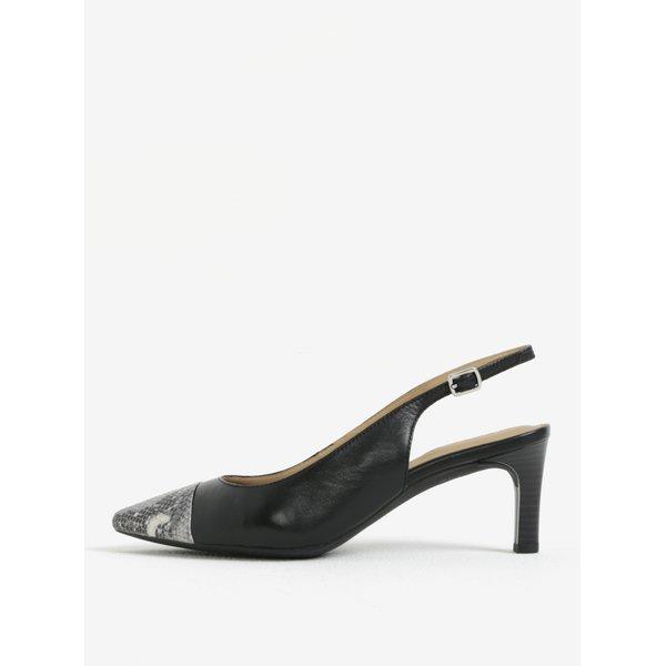 Pantofi slingback negri cu model sarpe din piele Geox Bibbiana