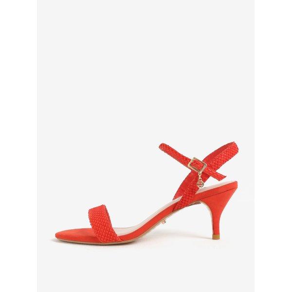 Sandale rosii din piele cu model sarpe Dune London Monnrow