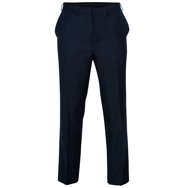 Pantaloni tailored fit bleumarin cu model discret – Burton Menswear London