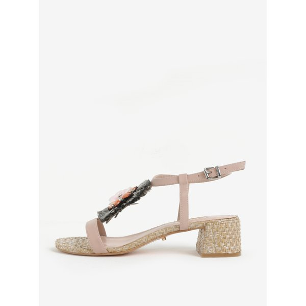 Sandale roz cu aplicatii decorative si toc masiv Dune London Minah