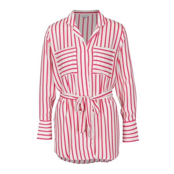 Camasa crem cu dungi roz si buzunare - Jacqueline de Yong Fancy
