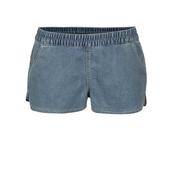 Pantaloni scurti din denim bleu asimetrici cu broderie Rip Curl