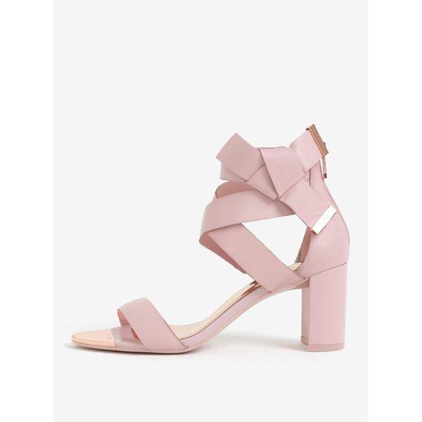 Sandale roz din piele naturala cu toc inalt si funda Ted Baker Peyepa