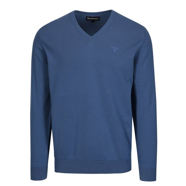 Pulover albastru cu logo brodat - Barbour Pima
