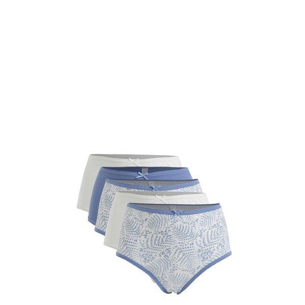 Set de 5 perechi de chiloti albastru&alb cu print floral si talie inalta M&Co