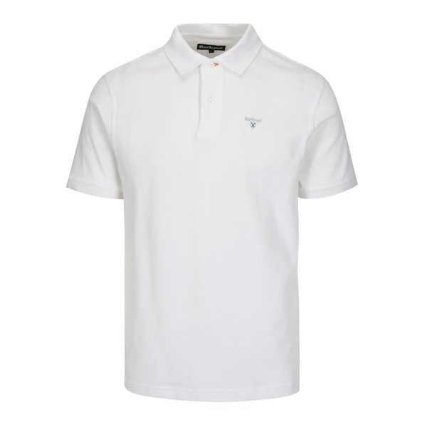 Tricou polo alb cu logo brodat – Barbour Sports