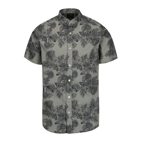 Camasa gri slim fit cu print floral ONLY & SONS Nelson