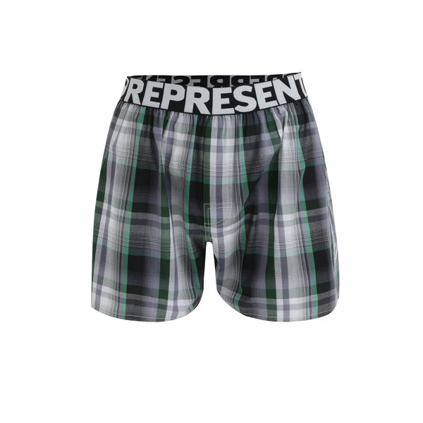 Boxeri cu carouri verde & gri din bumbac - Represent Mikebox