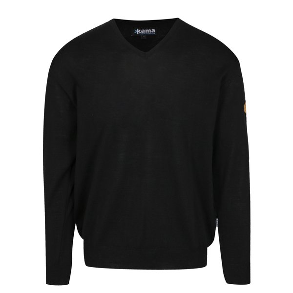 Pulover negru din lana Merino pentru barbati - Kama