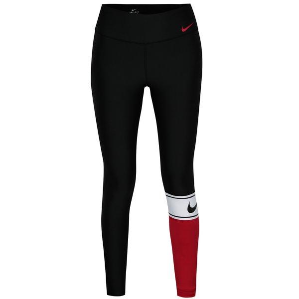 Colanti sport negru & rosu cu print logo pentru femei - Nike Power Training Tights