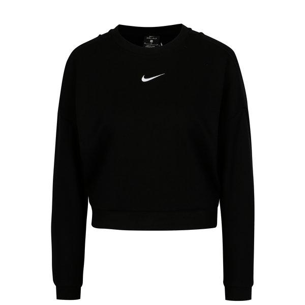 Bluza sport cropped neagra cu logo brodat pentru femei - Nike CREWNECK CROP