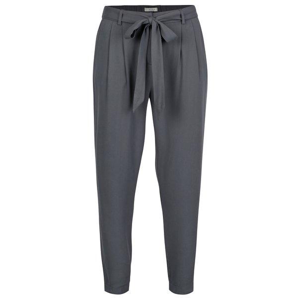 Pantaloni conici gri cu cordon in talie- VILA Losta