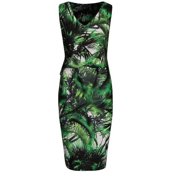 Rochie bodycon verde cu frunze de palmier - Smashed Lemon