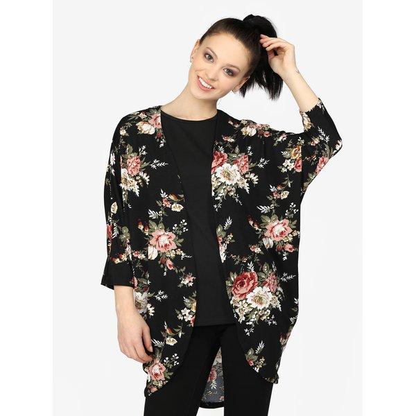 Kimono negru cu print floral si maneci liliac - Hailys Dana