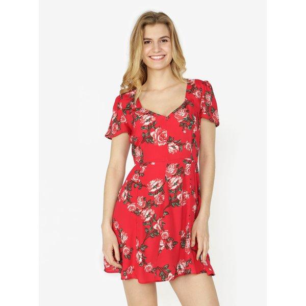 Rochie rosie cu print floral si maneci scurte Miss Selfridge