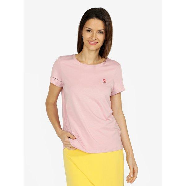 Tricou roz basic cu broderie VERO MODA Female