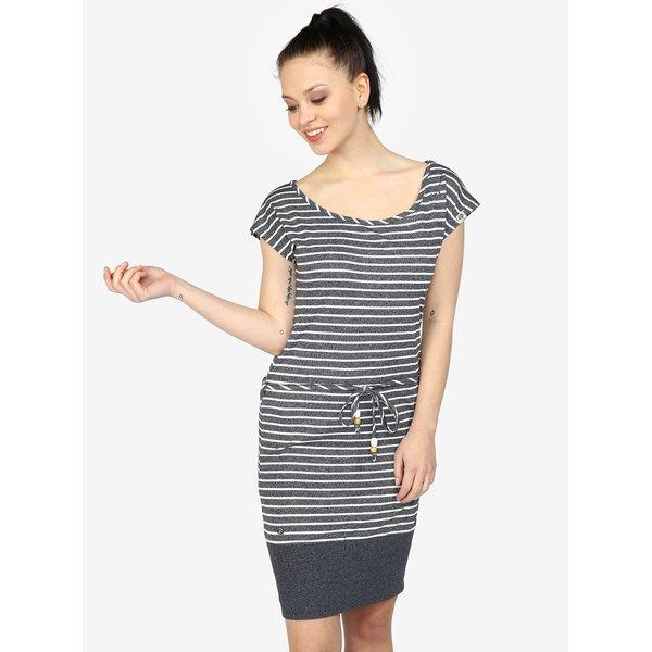 Rochie bleumarin cu dungi si snur in talie – Ragwear Soho Stripes