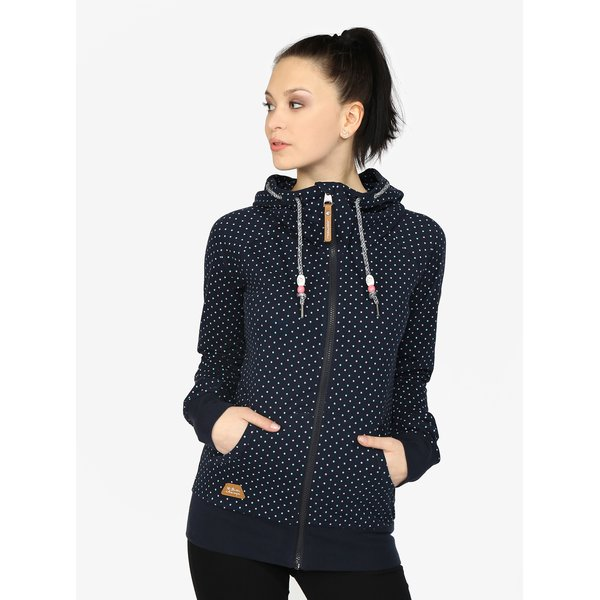 Hanorac bleumarin cu guler inalt si buline pentru femei - Ragwear Chelsea Dots