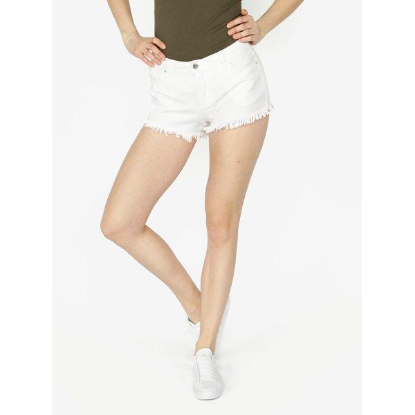 Pantaloni scurti albi din denim cu franjuri - VERO MODA Fiver