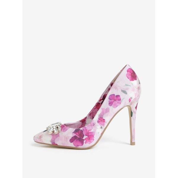 Pantofi stiletto roz cu print floral si pietre decorative - Dorothy Perkins