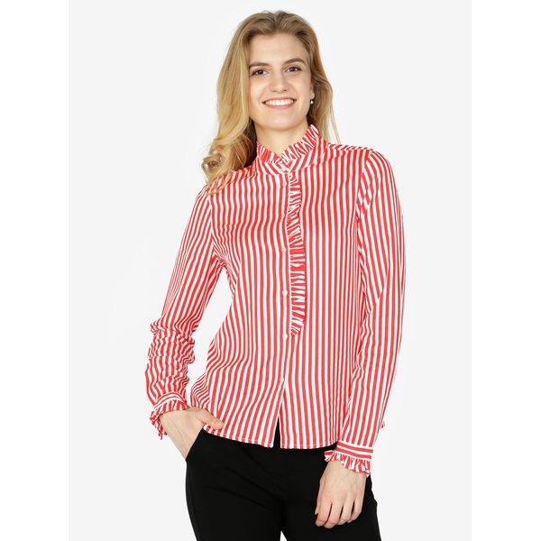 Bluza alb & rosu cu terminatii plisate si model in dungi - VERO MODA Lizette
