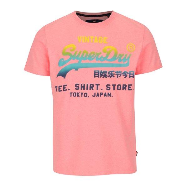 Tricou roz cu print multicolor pentru barbati - Superdry