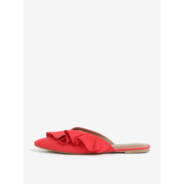 Papuci mules rosii cu volan decorativ - Pieces Donelle